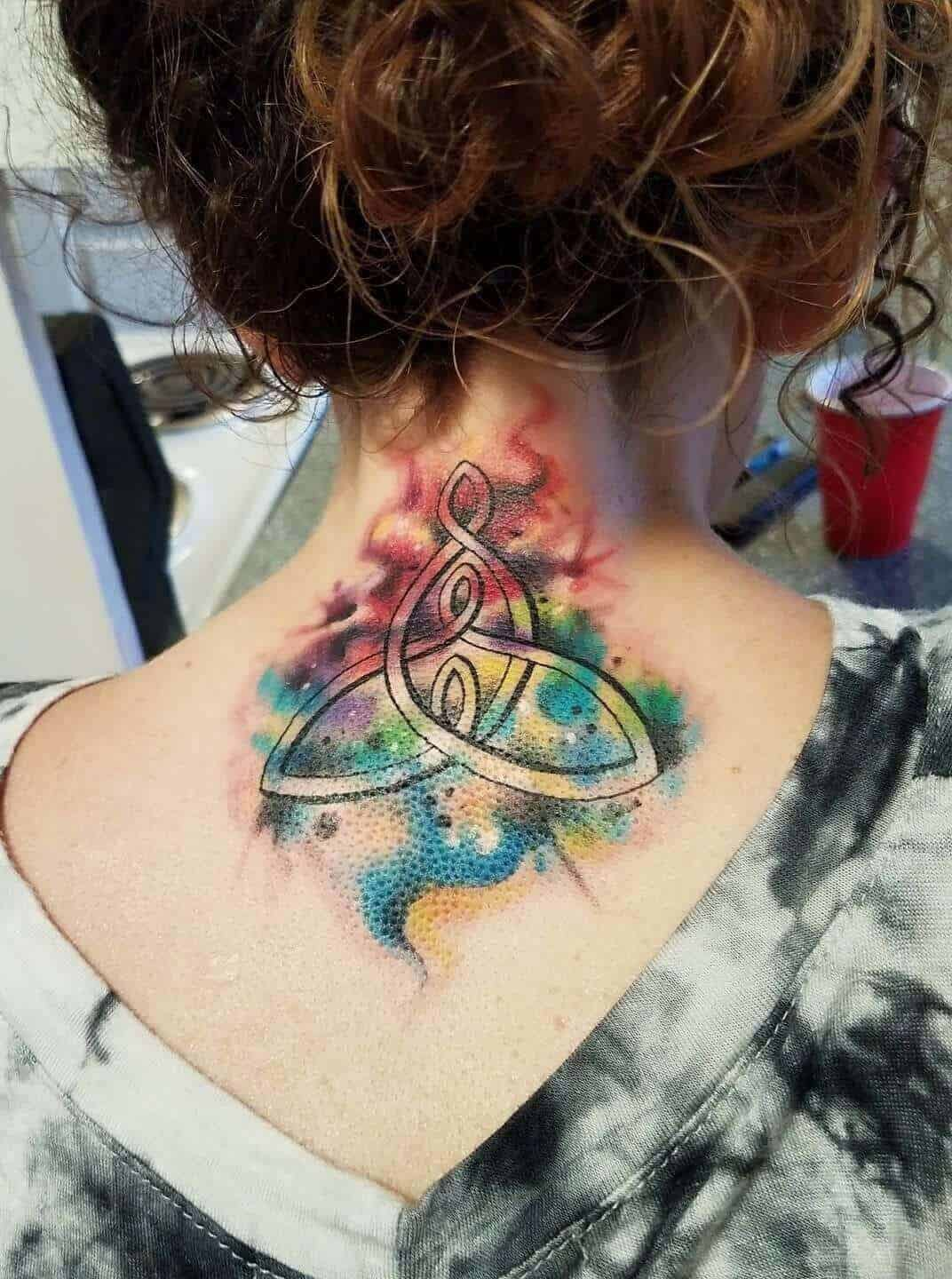 watercolor celtic tattoo on neck
