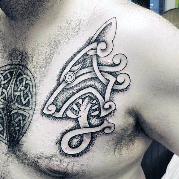 wolf celtic tattoo on chest