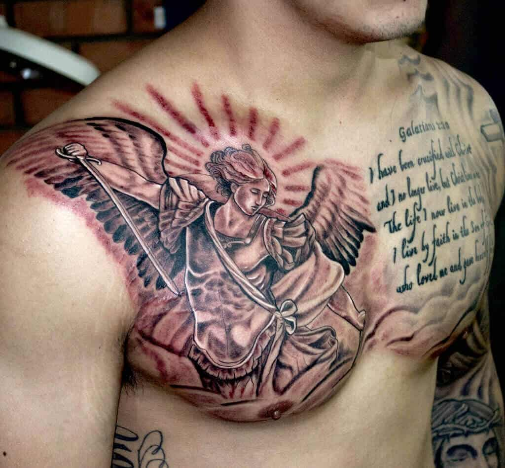 saint michael chest tattoo