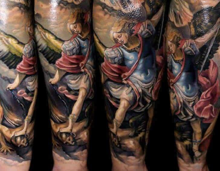 colored saint michael tattoo