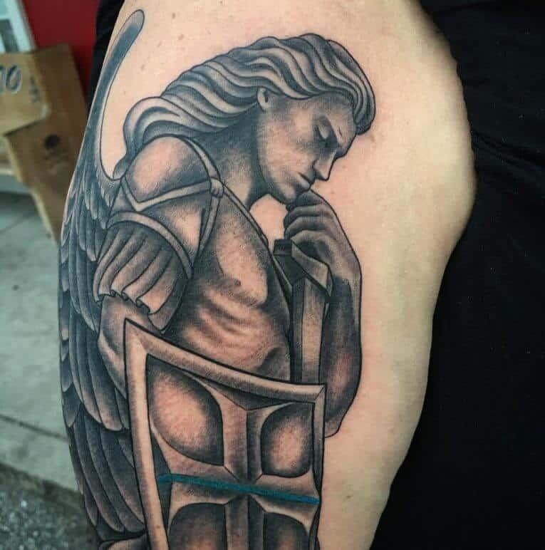 saint michael shield tattoo