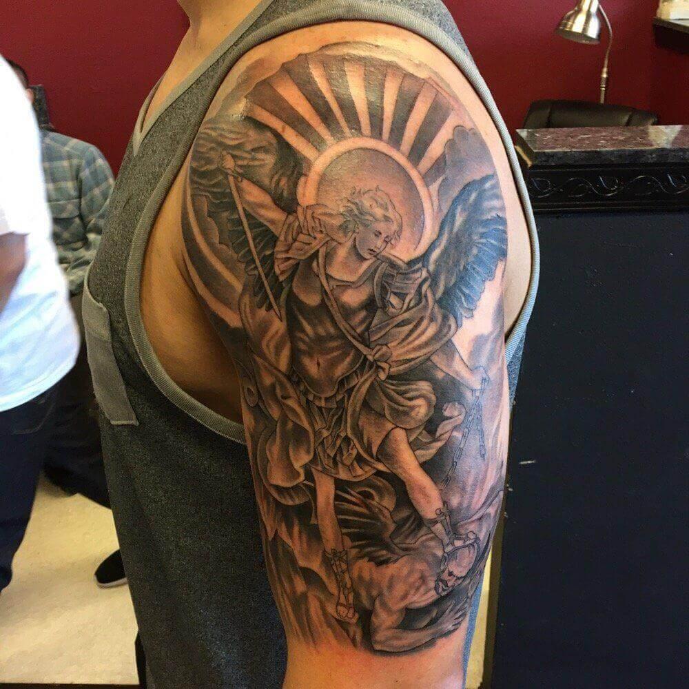 saint michael arm tattoo