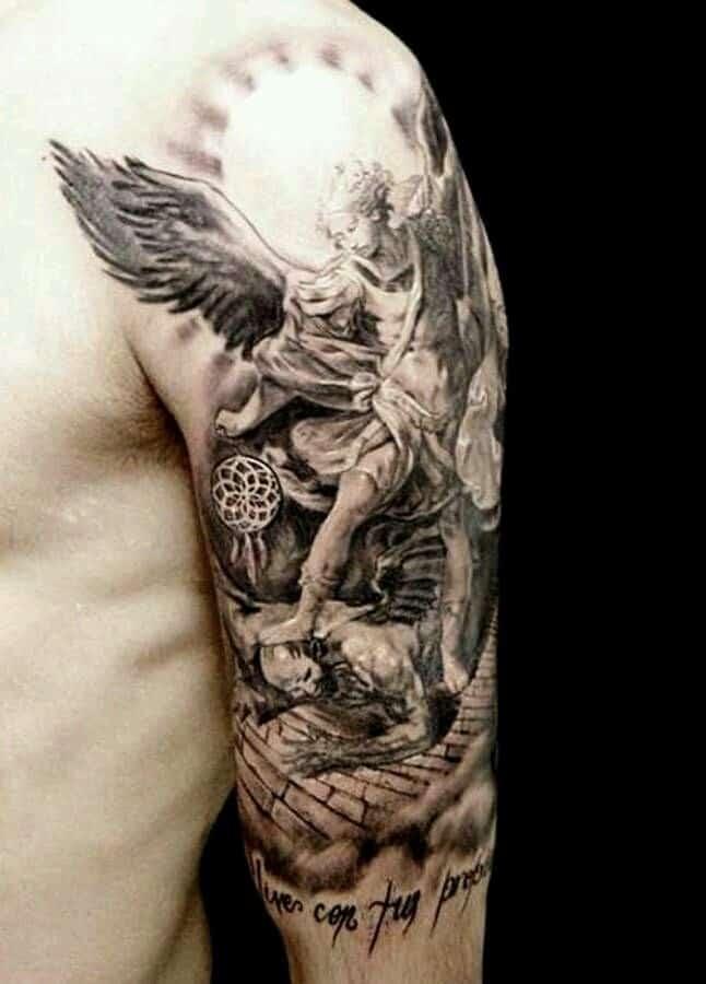 warrior saint michael tattoo on arm