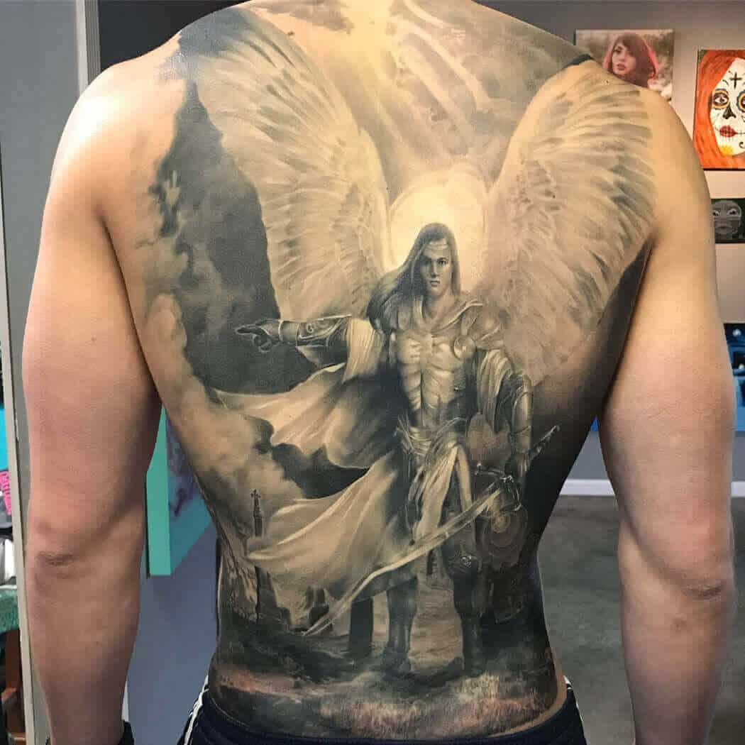 saint michael back tattoo