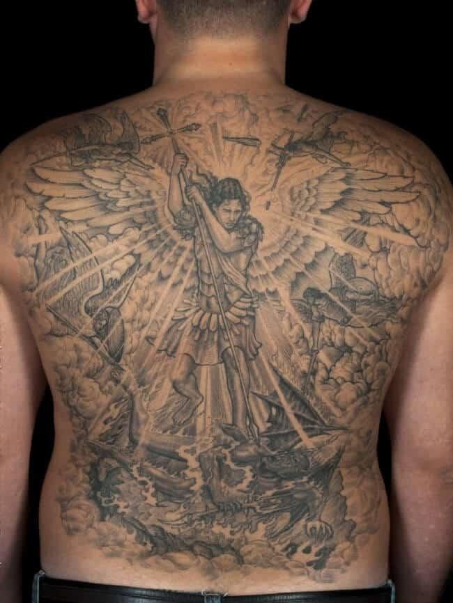 saint michael tattoo on back
