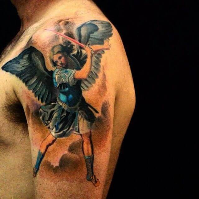 colored saint michael tattoo on arm