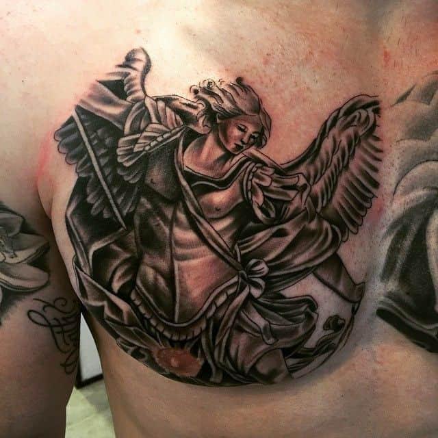 saint michael tattoo on chest