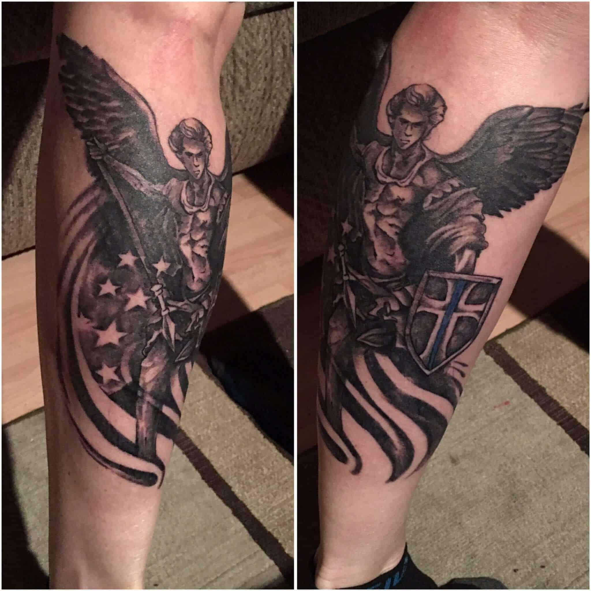 saint michael leg tattoo