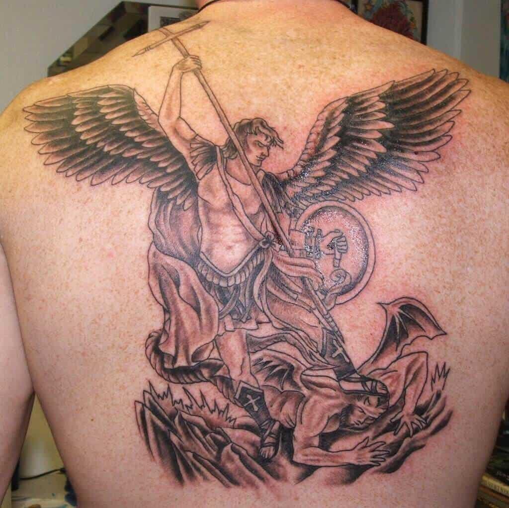 saint michael shield tattoo on back