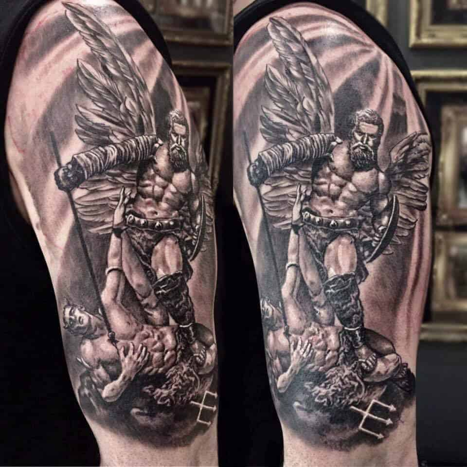 saint michael sleeve tattoo