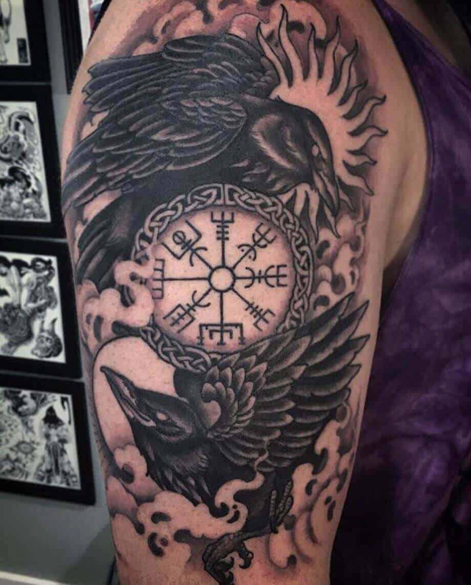viking compass tattoo on arm