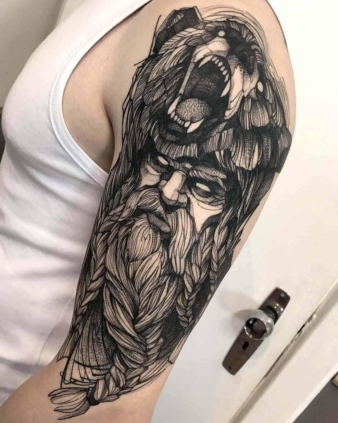 viking berserker tattoo on arm