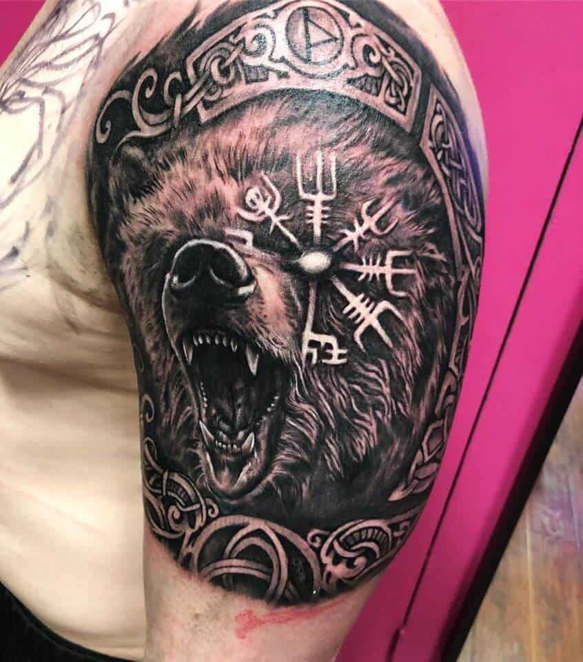 viking bear tattoo on arm