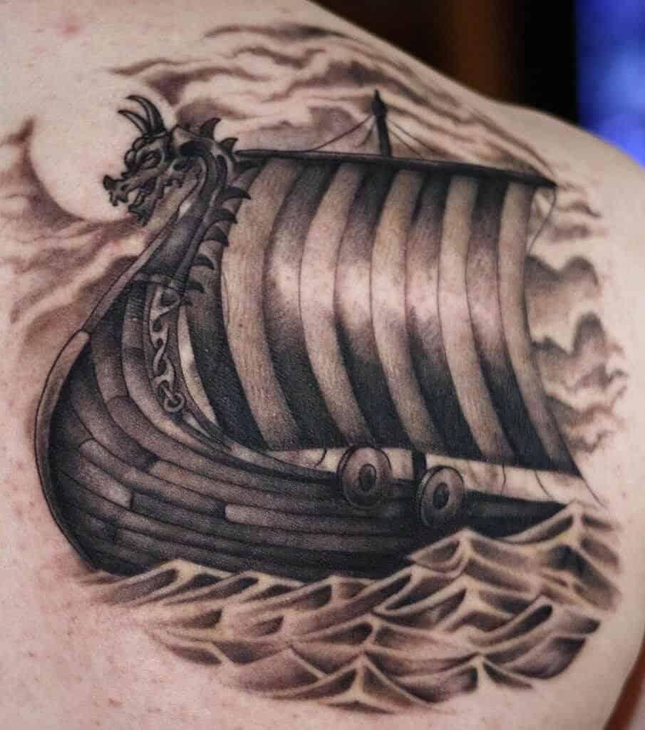 viking ship tattoo on back