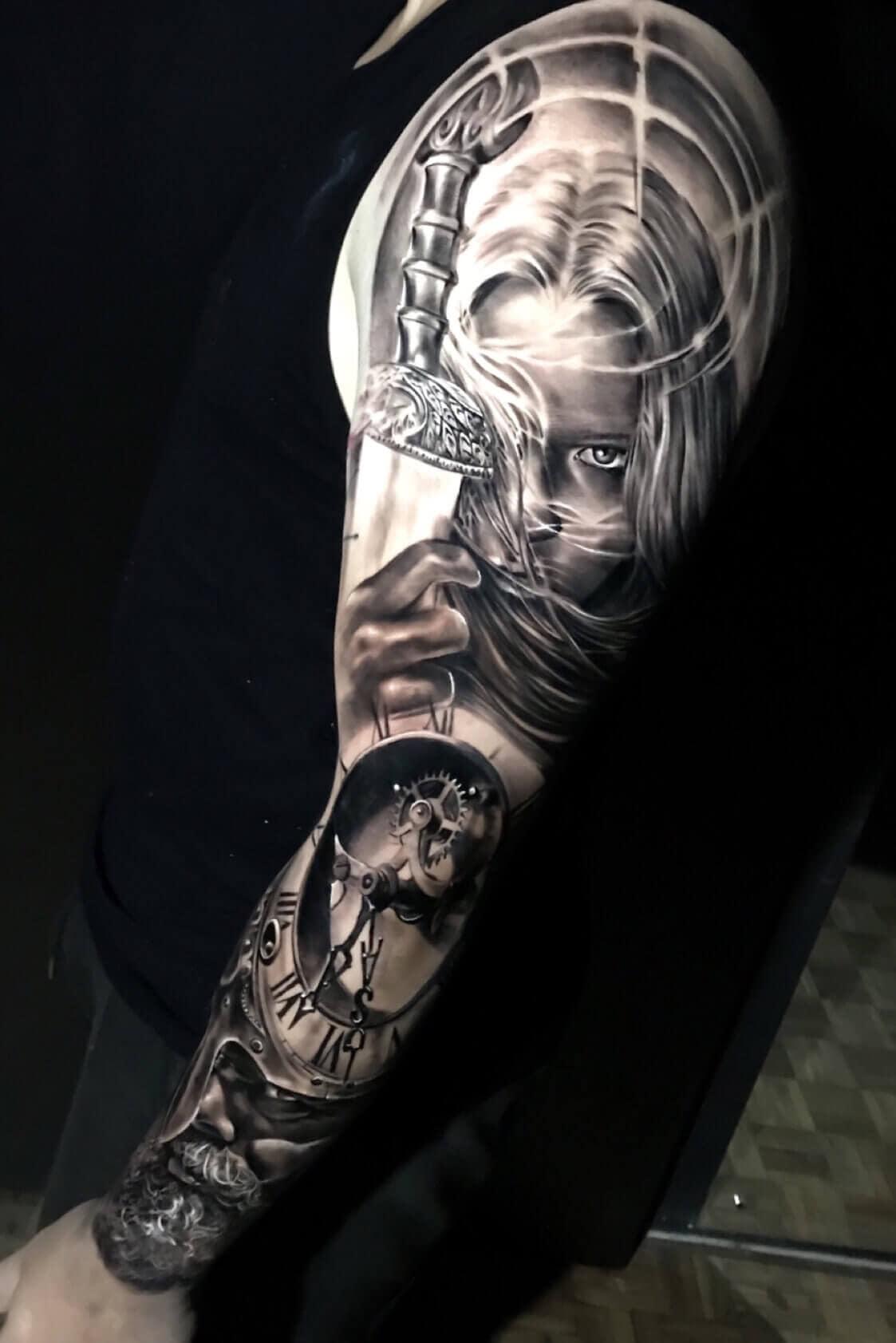 viking woman tattoo on arm