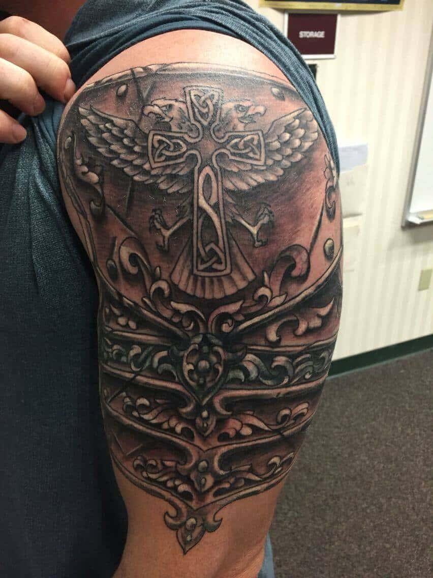 viking armor arm tattoo