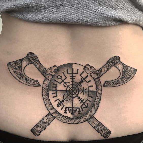 viking shield stomach tattoo