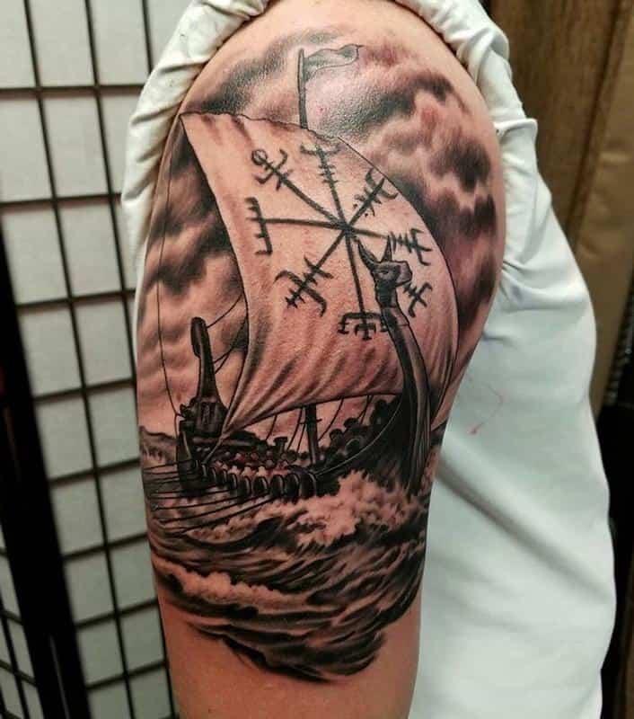 viking ship arm tattoo