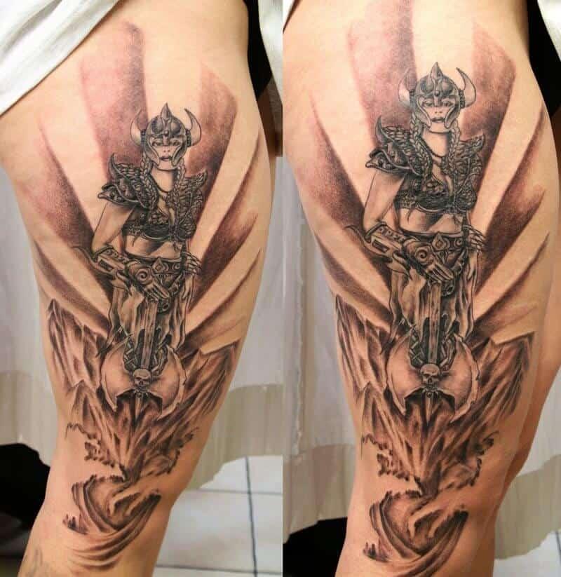 viking woman thigh tattoo