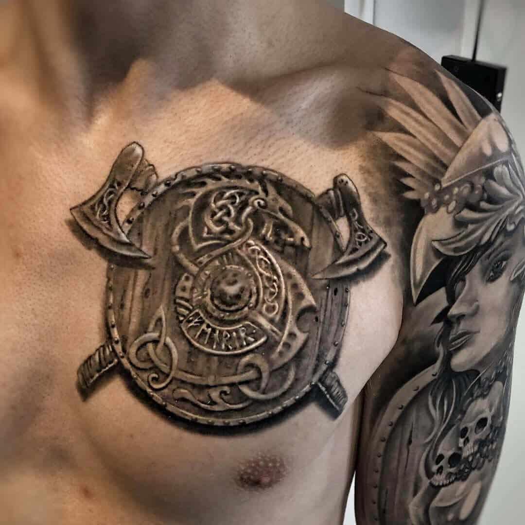 viking shield tattoo on chest