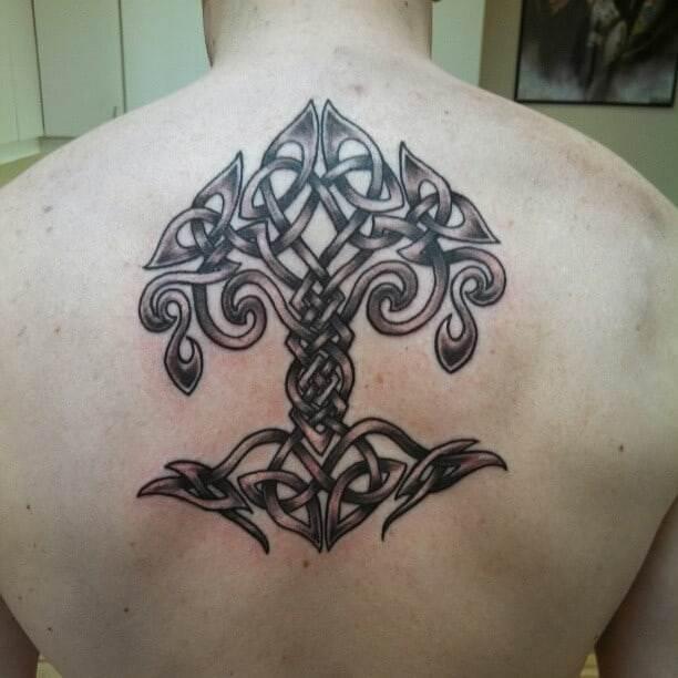 viking tree of life tattoo on back