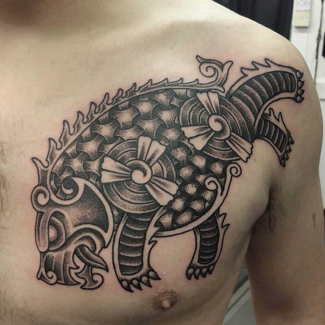 viking bear chest tattoo
