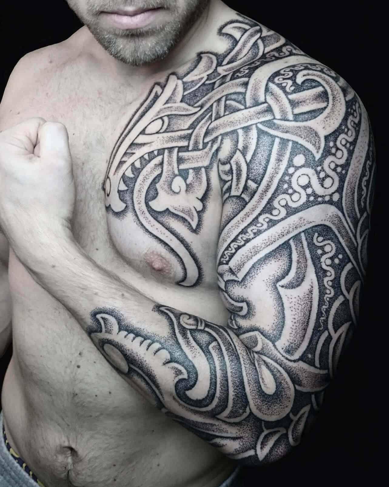 viking dragon arm tattoo
