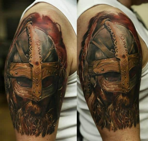 viking helmet arm tattoo