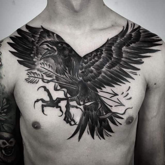 viking raven chest tattoo