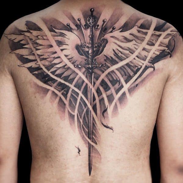 viking sword back tattoo