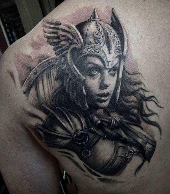 viking woman back tattoo