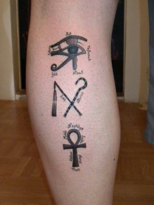 ankh leg tattoo