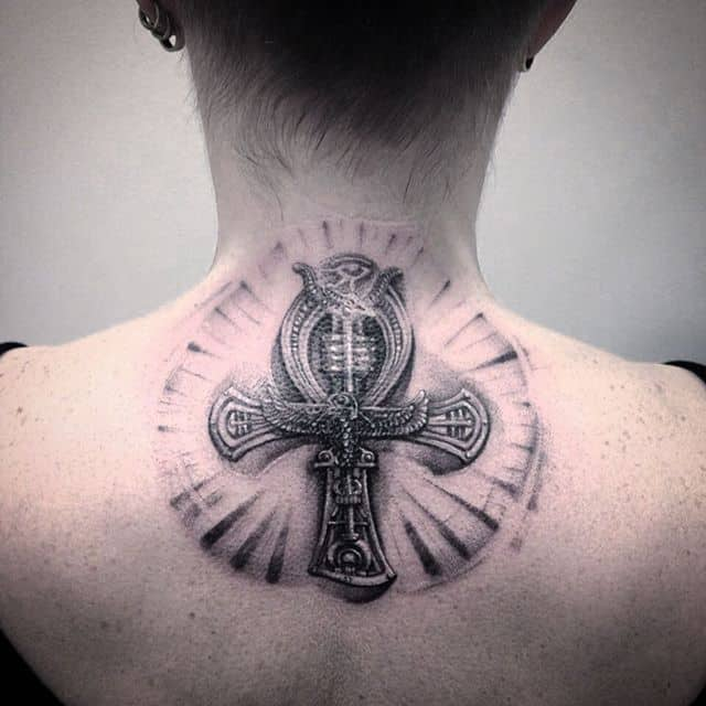 ankh tattoo on neck