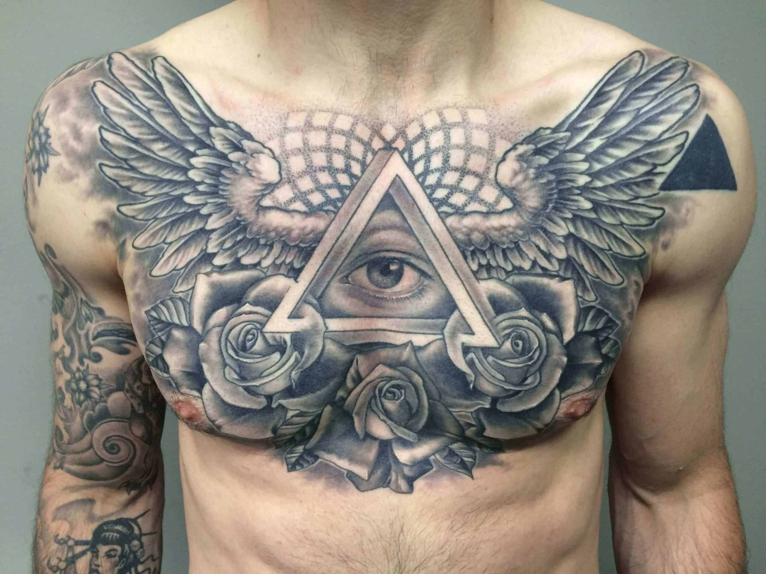 egyptian chest tattoo