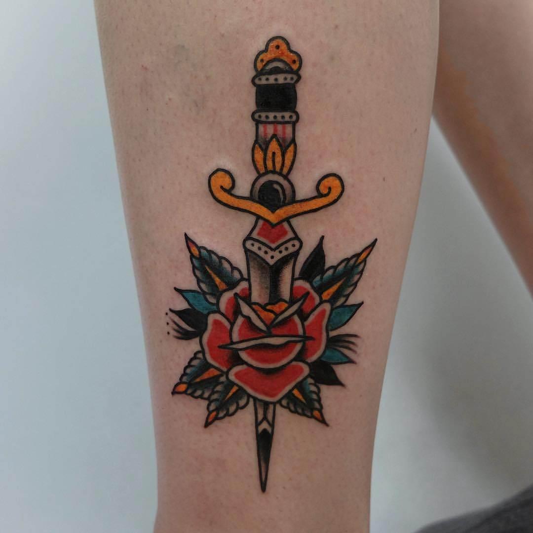 dagger leg tattoo