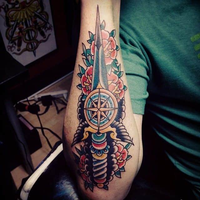 dagger sleeve tattoo
