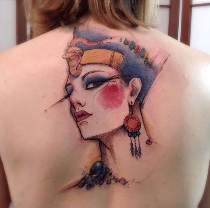 watercolor egyptian tattoo