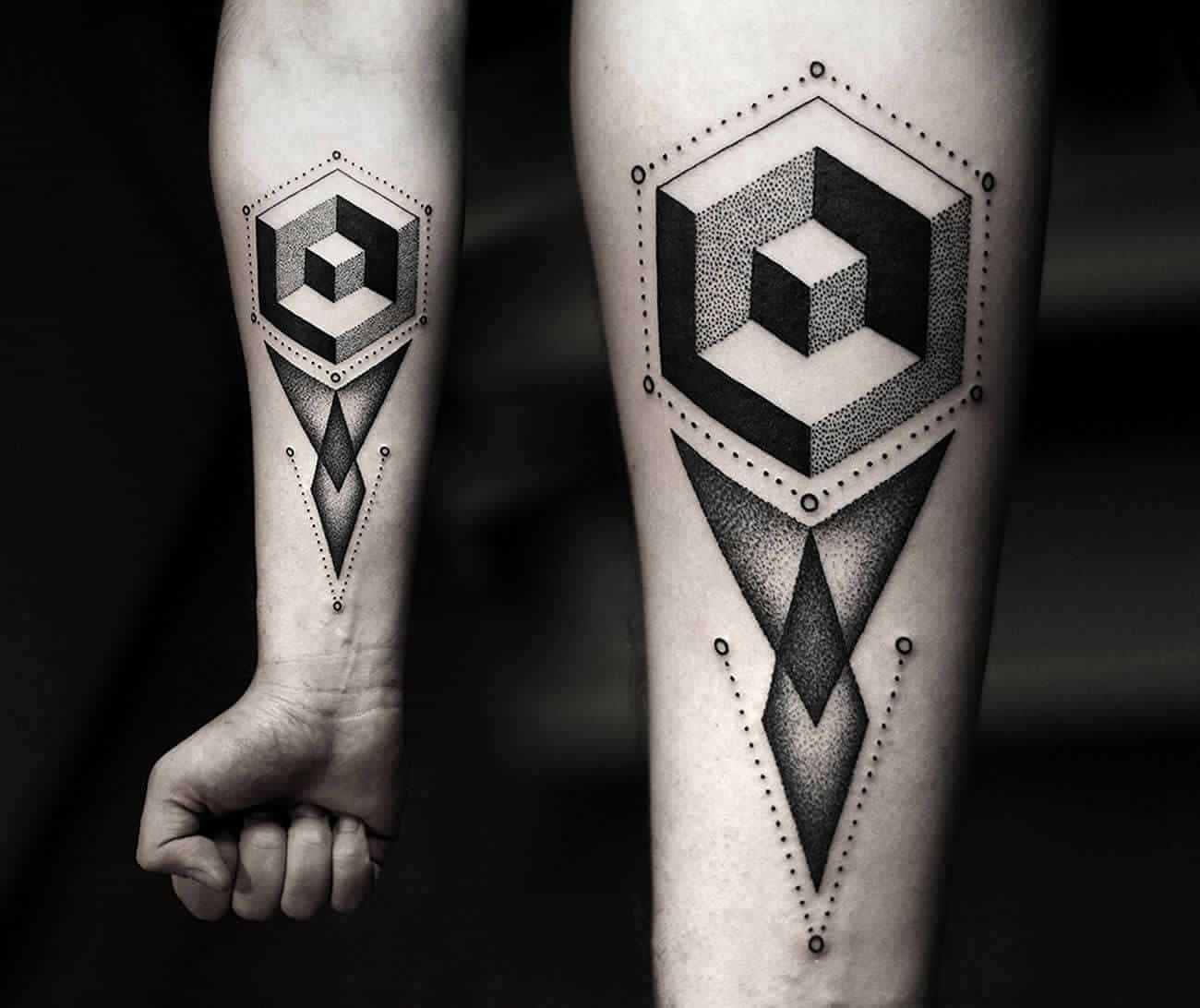 pointillism arm tattoo