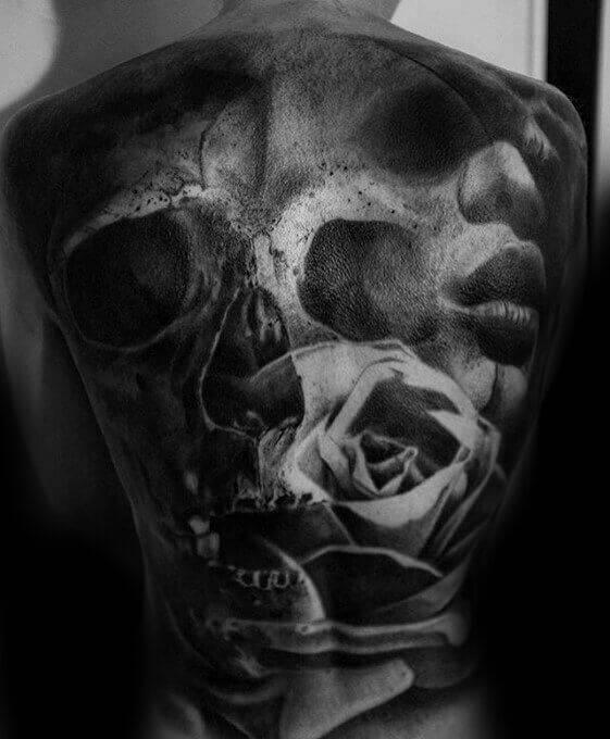 surrealism back tattoo