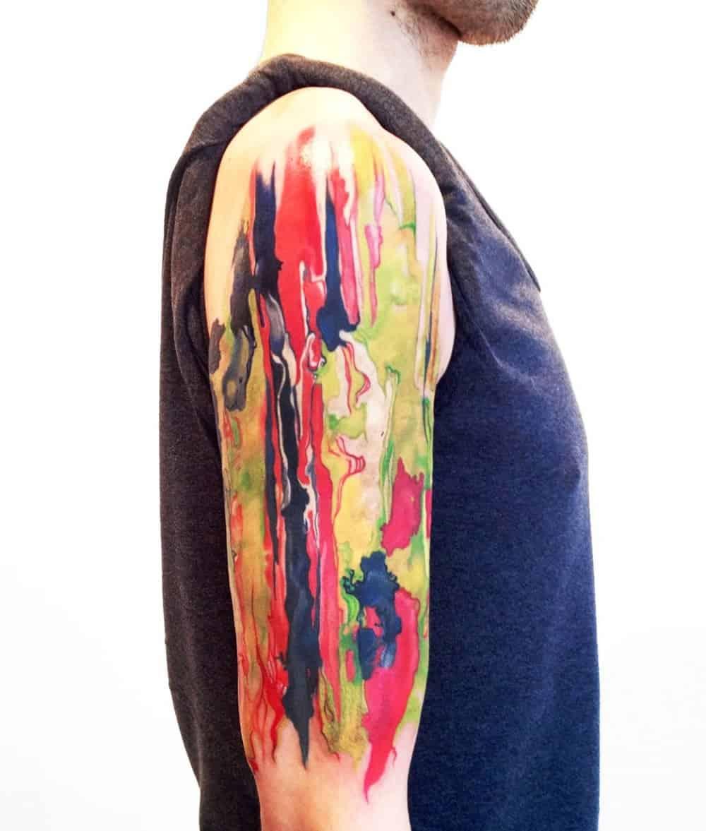 watercolor sleeve tattoo