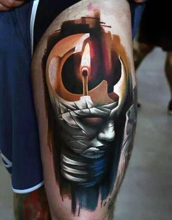 augmented reality tattoo on leg