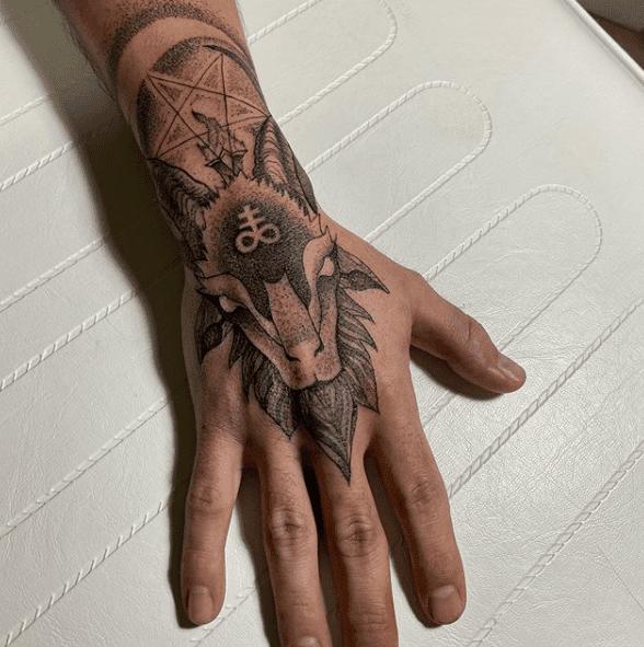 Double Cross Baphomet Tattoo