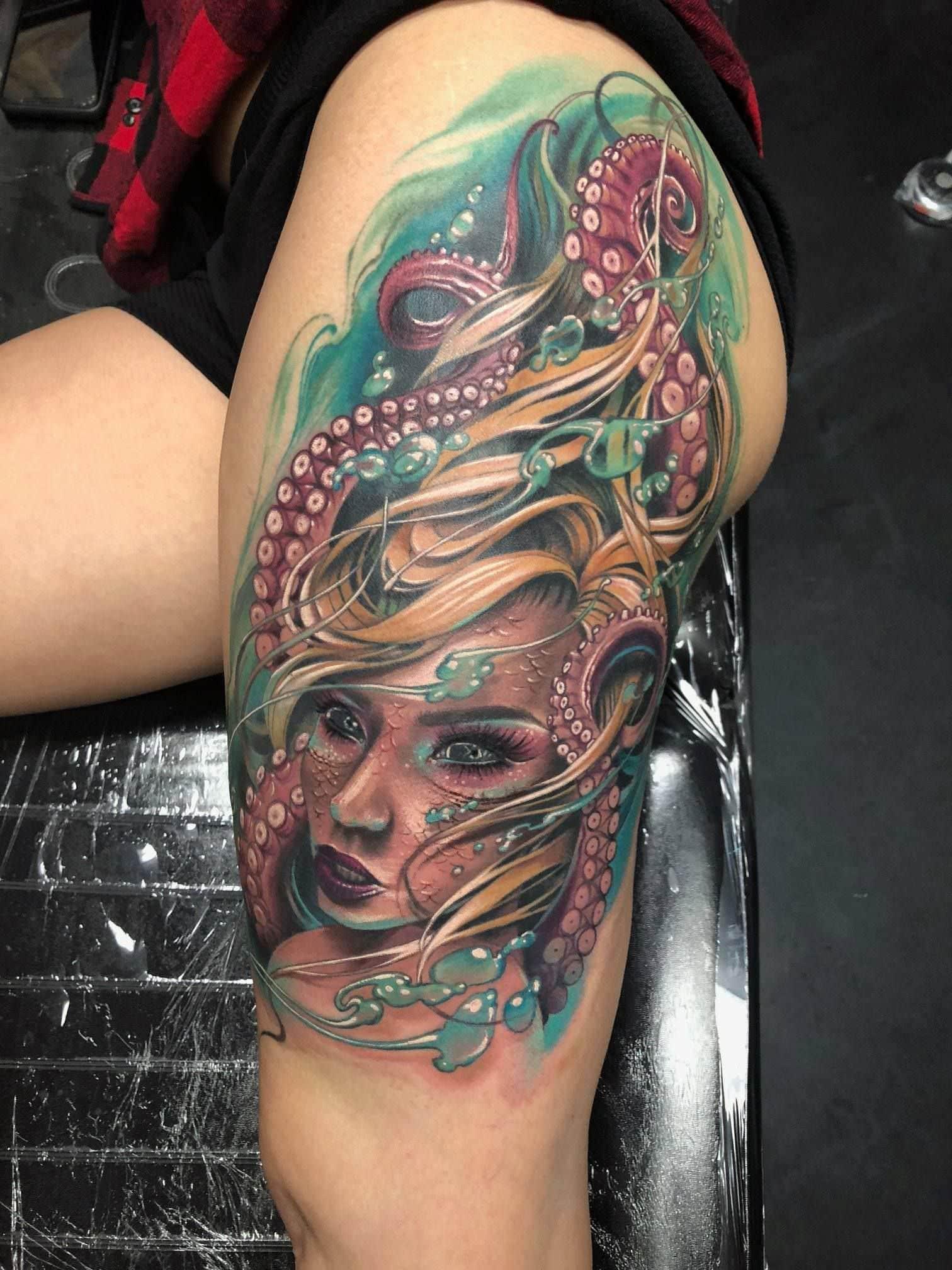 Mermaid Octopus Tattoo
