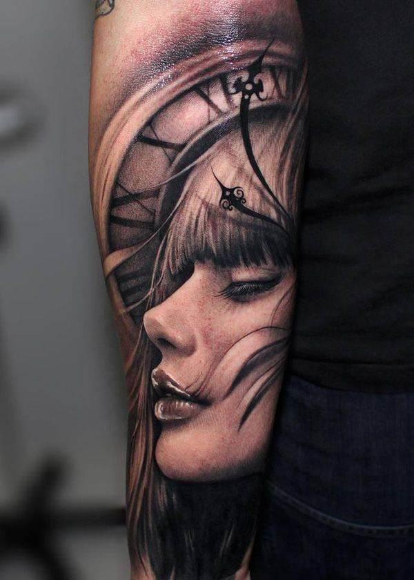 Dramatic 3D Effect Portrait Tattoo