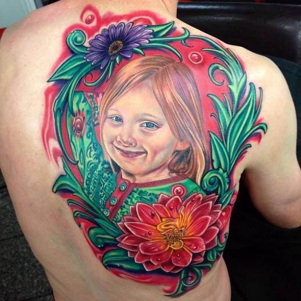 Floral Background Portrait Tattoo