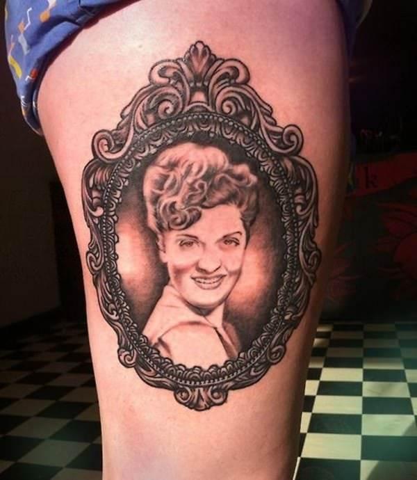 Victorian Framed Portrait Tattoo