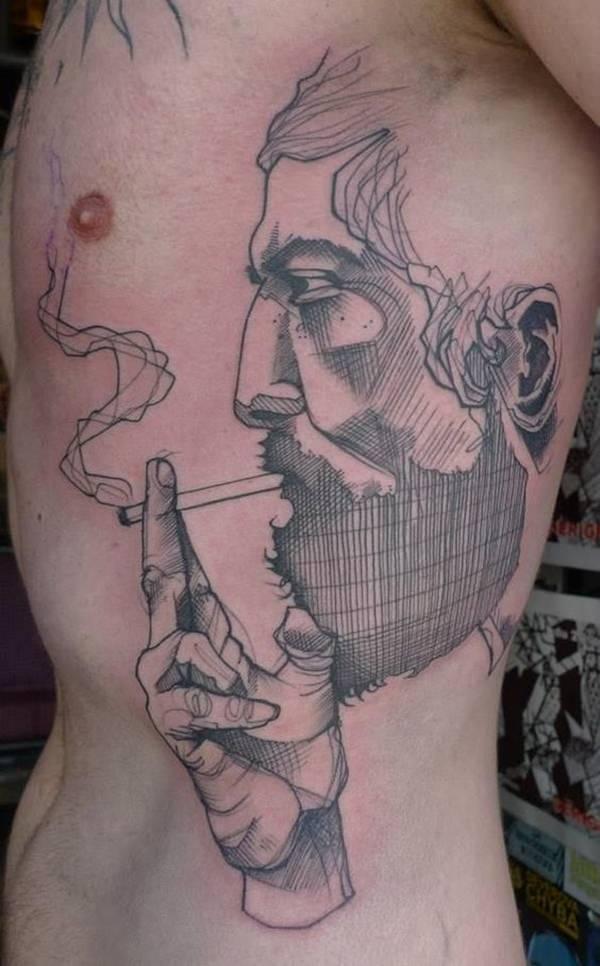 Geometric Portrait Tattoo