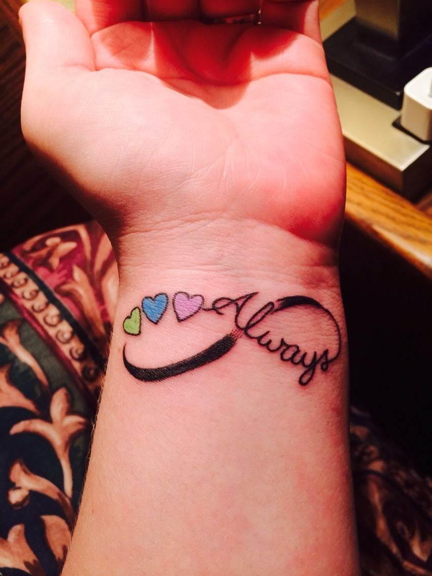 Birthstone Kids Name Tattoo
