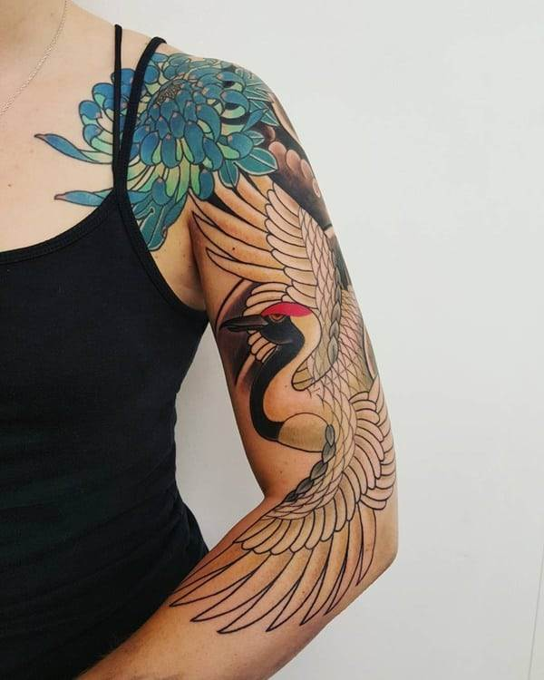 Chrysanthemum Bird Tattoo