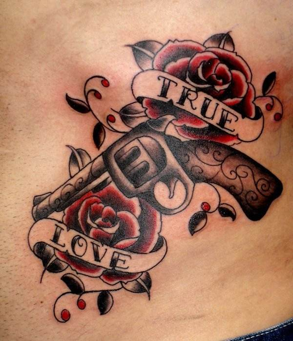 Mexican Rose and Gun Tattoo